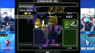 CSL NE Melee Finals 2018 - Slox (Fox) vs. Lumble (Luigi) - SSBM Pools