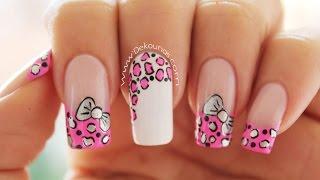 Decoración de uñas animal print y moño - animal print & bow nail art