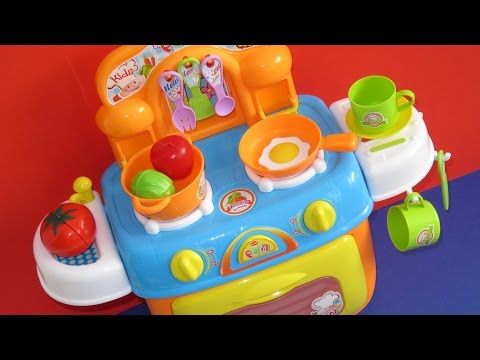 Learn colors names of vegetables toy kitchen velcro foods learn English