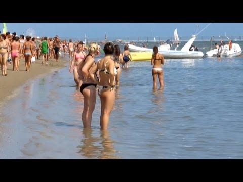 Rimini beach Italy Римини пляж Июль