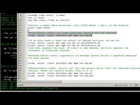 STATA Video #8 Fixed and Random Effect Models