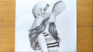 How to Draw a Girl with Hat for BEGINNERS - step by step    Pencil sketch