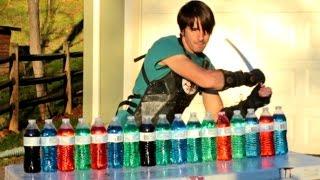 Katana Vs Plastic Water Bottles - Slow Motion