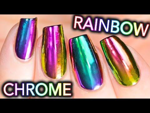 DIY RAINBOW CHROME Nails w NEW multi chrome powder NO GEL
