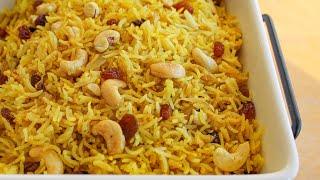 Spicy Cashew & Raisin Rice Pilaf Recipe | How to make Rice Pilaf | Vegan Rice Recipe