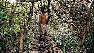 Primitive Technology, Build Bridge Over Giant Lake To Tree House Part 1