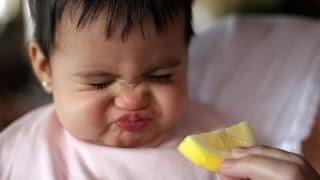 Bebês chupando limão