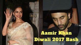 Ex Lovers Deepika Padkone - Ranbir Kapoor At Aamir Khan's Diwali Party 2017