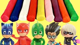 PJ MASKS Headquarters Learn Colors Play-doh Dough, Catboy Owlette Gekko Romeo In Real Life IRL Toys