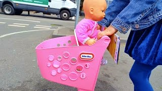 Doing Shopping with Baby Doll / Supermarket Song / Toy Shopping Cart