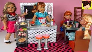 Juego de Restaurante Cocina Para Niños con Muñecas Elsa , Anna y American Girls - Juguete de Cocina
