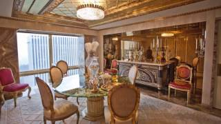 £80million Trump Tower home of future President Donald Trump, CHANDELIERS, MARBLE FLOORS AND GOLD ON