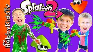 Splatoon Adventure + Real Life Splat Roller Challenge!  Video Game Fun with HobbyKidsTV