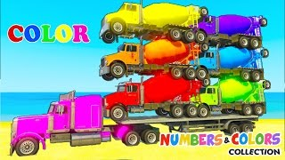 Learn COLORS & NUMBERS w Mixer Truck Transportation & Spiderman cars cartoon for kids Nursery Rhymes