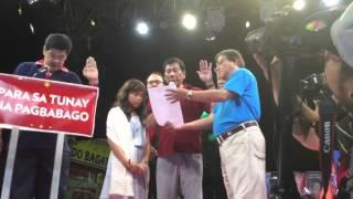 Duterte Taking Oath as New PDP LABAN Chairman in Tondo