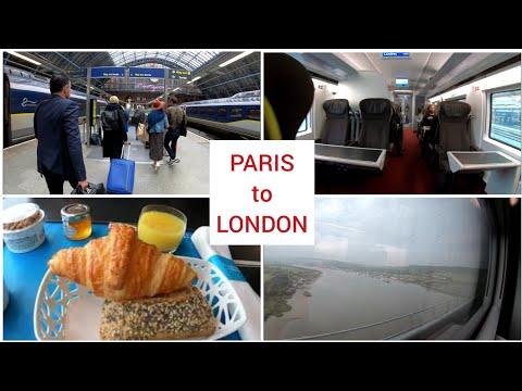 Eurostar Paris to London via underwater tunnel First Class train trip 4K