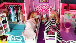 Dormitorio de Elsa y Anna Rutina de la Mañana - Decoramos La Casa de Barbie y Accesorios