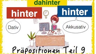German Prepositions (9) - HINTER - DAHINTER - simpel & with pics