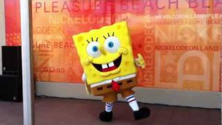 SpongeBob SquarePants dancing to Do the Sponge at Nickolodeon Land, Blackpool