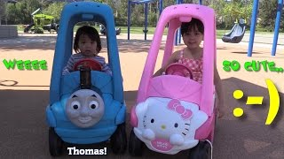 Thomas the Tank Engine and Hello Kitty Ride-On Toys Playtime at the Park w/ Hulyan & Maya