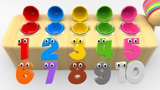 Learn Numbers with Wooden Hammer Surprise Eggs Toys - Shapes and Numbers Collection