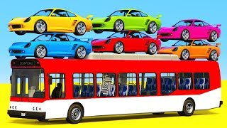 Fun Learn Colors Helicopter & Sport Cars w Bus Spiderman - Superheroes for babies