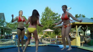 Hot Girls and women bouncing on trampolines