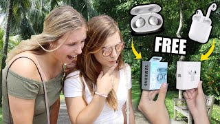 I Gave FREE EarBuds to Strangers... But Made Them Choose! – AirPods vs Galaxy Buds