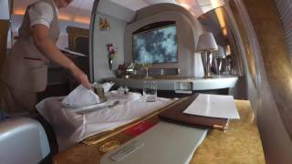 DFW DXB Emirates First Class Meal Service