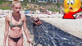 SLIP N SLIDE AT THE BEACH! *EPIC FAILS*