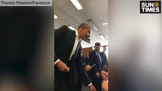 Obama arrives for jury duty at Daley Center