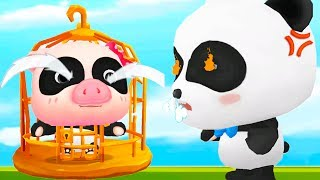 Baby Panda Labyrinth Town - Fun Help Kiki To Fight Junk Food Monster - Educational Game For Kids