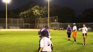FlagFootball 081814 PurpleVsWhite Lacey throws pass to Najja run for TD