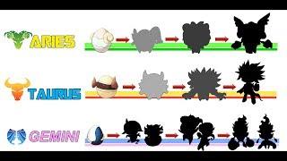 Aries, Taurus, Gemini - Pokemon Zodiac - Egg and Evolution ( Ver 1 ).