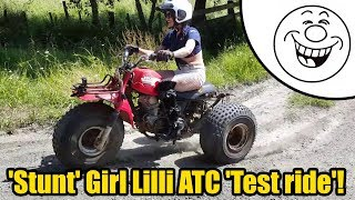 Stunt Girl Lilli - test rides Honda ATC Big Red #2119