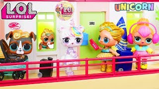 Custom LOL Surprise Dolls Play at Hotel with Unicorn Lil Luxe + Customized DIY Vending Machine