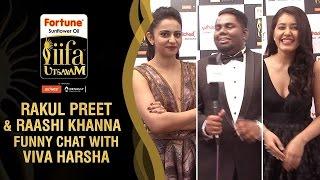 Rakul Preet and Raashi Khanna Funny Chat with Viva Harsha   IIFA Utsavam 2016 Awards