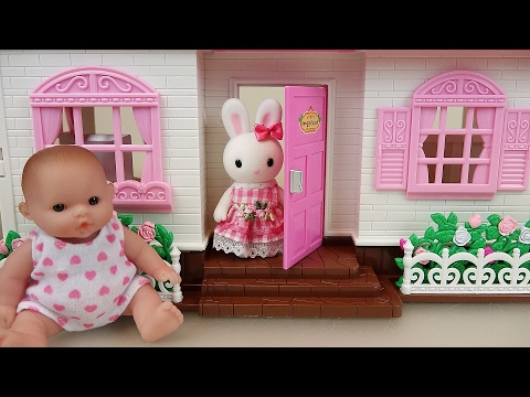 Baby doll and Little Rabbit two story house toys
