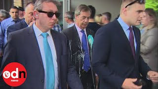 Nigel Farage hit by a milkshake on campaign visit to Newcastle