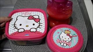 Lanche da Alice para Escola l Conjunto Hello Kitty l Tathi Fulber