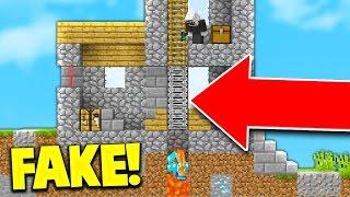 THE BEST FAKE LADDER TROLL! (Minecraft Skywars Trolling)