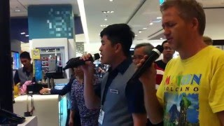 *****Amazing Voice!!! - Filipino Sales Boy Sings with American Customer