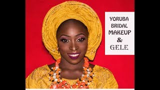 HOW TO TIE ROUND PLEATED GELE ON YOURSELF + yoruba bridal makeup!!