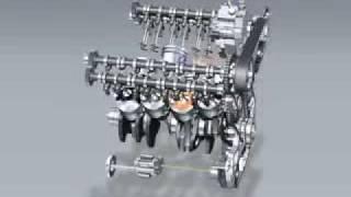 Motor funcionando V8 biturbo diesel 32 válvulas