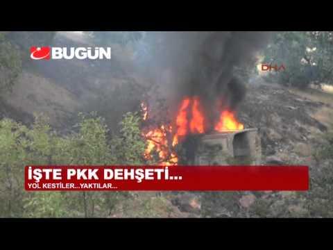 TUNCELİ'DE PKK'LILAR YOL KESİP ARAÇ YAKTI