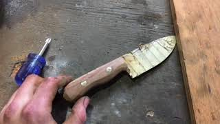 Making a bushcraft knife from a sawmill blade and giveaway announcement