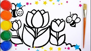 Glitter How to draw _ Drawing and coloring Tulip so nice and easy for kids || Draw Kids
