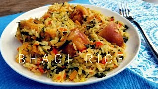 Trinidad Bhagi Rice Recipe / Spinach Rice with Salted Pigtails in Coconut Milk - Episode 177