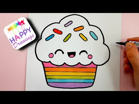 Xxx Mp4 HOW TO DRAW A CUTE RAINBOW CUPCAKE EASY STEP BY STEP 3gp Sex