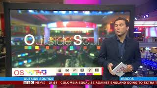 BBC Outside Source: The Moment England Won In World Cup In The BBC Newsroom